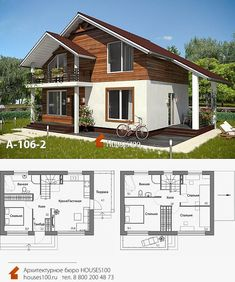 Little House Plans, Small Modern House Plans, Home Modern, House Arch Design, 2 Storey House Design, Home Building Design, Wooden House Design, Wooden Houses, Modern Bungalow House