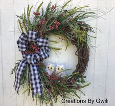 Winter Wreath with Owls, Front Door Grapevine, Everyday Decor, Pine cones and Berries, Creations By Gwili Front Door Decor, Wreaths For Front Door, Door Wreaths, Grapevine Wreath, Winter Wreaths, Christmas Wreaths, White Owls, How To Make Wreaths, Pine Cones