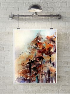 Forest art print, watercolor print of trees, autumn nature painting, watercolor painting, modern abstract art, fine art print of trees by CanotStopPrints on Etsy