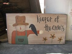 Primitive Scarecrow and Sunflowers Hand Painted Sign
