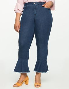 View our Ruffle Hem Jeans and shop our selection of designer women's plus size Pants, clothing and fashionable accessories. Fat Girl Fashion, 70s Fashion, Fashion Outfits, Women's Plus Size Jeans, Hem Jeans, Jeans Pants, Plus Size Designers, Fat Women, High Waist Jeans