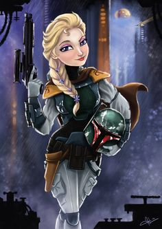 Elsa as Boba Fett
