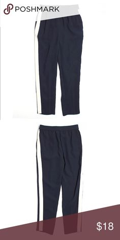 "J Crew Casual Pants Gorgeous boyfriend cut J Crew Pants. Size 00, elastic waistband. 27"" inseam, white striped print on both sides. Navy blue, 100% polyester. Like new. J. Crew Pants"