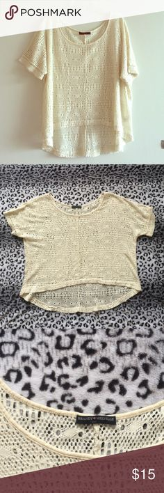 Brandy Melville crochet drapey top High quality cream crochet short sleeve top. 100% cotton in excellent condition! Brandy Melville Tops Tees - Short Sleeve