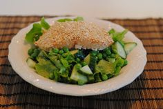 Anne's hyggested: Sesambagt laks med den grønneste salat på gaden Salmon Burgers, Green Beans, Chicken, Vegetables, Ethnic Recipes, Vegetable Recipes, Veggies, Cubs