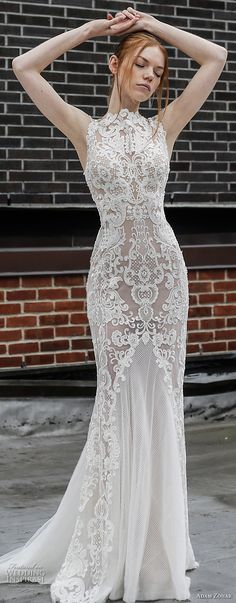 adam zohar 2017 bridal sleeveless jewel neck full embellishment elegant sheath wedding dress open v back sweep train (5) mv -- Adam Zohar 2017 Wedding Dresses
