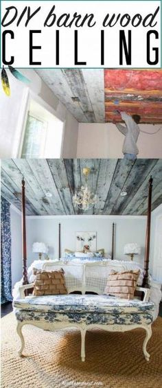 STUNNING DIY barnwood ceiling/wooden ceiling tutorial! Awesome home decor element to bring in rustic charm. From www.heatherednest.com by vickie