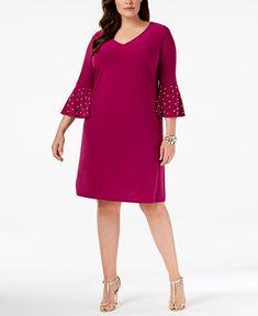5e8e7aedc8a MSK Plus Size Embellished Bell-Sleeve Sheath Dress   Reviews - Dresses -  Women - Macy s