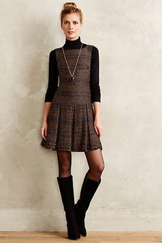 I ADORE this look! Maybe I can re-create it using a dress under *gulp* $400...I love anthropologie, but NOT affordable for this lady who will soon be job-less :-) // Shimmered Tweed Dress - anthropologie.com