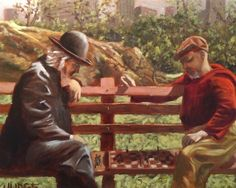 Chess in the Park - Tim Judge - Oil Painting