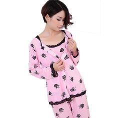 2016 봄 가을 여성 잠옷 세트 잠옷 3 개 플러스 사이즈 M-XL 긴 소매 꽃 인쇄 홈 정장 Sleepwears 잠옷