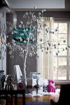 Silver Modern Christmas Tree - almost toddler-proof because of the height!