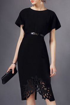 Black Round Neck Asymmetrical Embroidered Dress Source by nooshinebrahimi Cheap Dresses, Elegant Dresses, Day Dresses, Dresses Online, Evening Dresses, Short Dresses, Club Dresses, Dress Skirt, Lace Dress