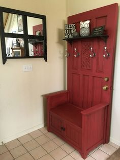 Make a Hall tree from an old door! Modified media cabinet, an old door and a up… – Furniture and Door Decoration Old Cabinet Doors, Old Cabinets, Old Doors, Old Door Bench, Hall Tree Bench, Entry Bench, Refurbished Furniture, Repurposed Furniture, Furniture Makeover
