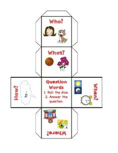 Question Words.. cut and create a Question Word Dice :)