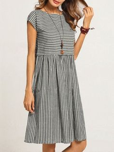 Buy Dresses For Women at Popjulia. Online Shopping Crew Neck Women Shift Daily Gathered Striped Short Sleeve Printed Casual Plus Size Linen Dress, The. Daytime Dresses, Summer Dresses, Dressy Dresses, Dress Casual, Casual Outfits, Stylish Plus, Vintage Mode, Linen Dresses, Cotton Dresses