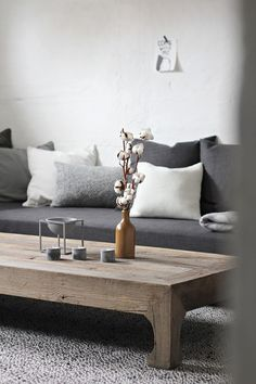 Grey living room-- love the coffee table
