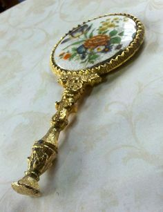 Antique Hand Mirror - Floral Porcelain and Brass