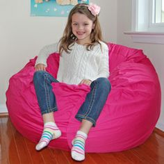 Shop for Ahh Products Hot Pink Organic Cotton Washable Bean Bag Chair. Get free delivery On EVERYTHING* Overstock - Your Online Furniture Shop! Pallet Furniture Sofa, Bean Bag Furniture, Hot Pink Furniture, White Distressed Furniture, Teen Feet, Kids Bookcase, Toddler Furniture, Cool Kids, Bean Bag Chair