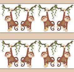 MONKEY WALL DECAL Wallpaper Border Baby Boy Jungle Nursery Stickers Kids Safari Animal Room Decor Childrens Hanging Swinging Vine Bedroom #decampstudios