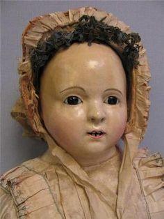 "36"" Antique Andreas Voit Doll c1840 French Papier Mache Kid Body Fine Silk Dress | eBay"