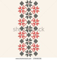 vector pattern, embroidery, red, black Embroidery Patterns, Knitting Patterns, Vector Pattern, Needle And Thread, Red Black, Hand Knitting, Alphabet, Cross Stitch, Handmade
