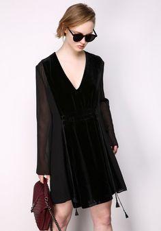 Pre-Order Her Story Velvet Dress In Black CRDR0017