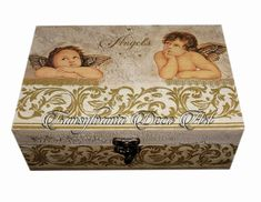 Handmade decorated big box, hand painted big box, handmade christening gifts, new baby gift, baby keepsake,  baby shower gift