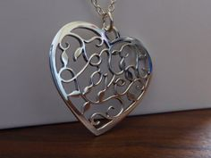 Silver Handmade Love Heart Pendant Necklace by GorjessJewellery