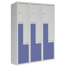Taquilla Metálica Soldada Monoblok Puertas en L SL2-40/3, de tres cuerpos y dos puertas en L