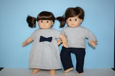 American Girl Bitty Baby Twin Doll Clothes - Coordinating Outfits grey sweater, sweater dress, and navy twill pants