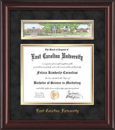 East Carolina University - Diploma Frames : W/3D Collage - Black Suede on Gold mat