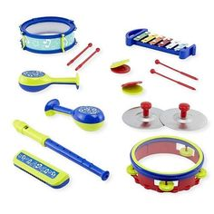 Musical Toy Set Instrument Drum Kids 15 PC Playset Percussion Band Recorder New  | eBay