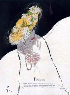 René Gruau - Femme au Chapeau Fleuri