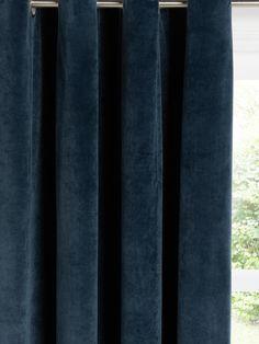 John Lewis & Partners Lustre Velvet Pair Lined Eyelet Curtains, Teal Panel Curtains, Blue Velvet Curtains, Curtain Drops, Curtain Headings, Curtain Length, Types Of Curtains, Blue Colour Palette, Curtain Poles