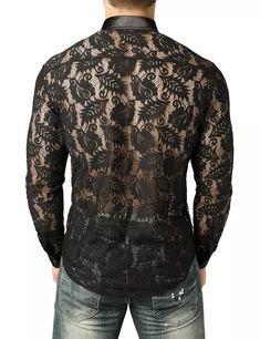 8551ff3739 Mens Nightclub Style Lace Leaves Shirt Men Slim Fit Long Sleeve Button Down Dress  Shirts Sexy