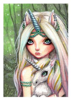 ORIGINAL ACEO ATC LOW BROW UNICORN GIRL FOREST FAIRY FANTASY ART PAINTING  #PopArt