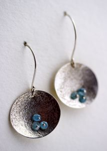 Moon water earrings sterling silver with apatite beads and patina $85