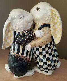 "courtly 11"" bunnies bunny statue, my mackenzie childs check by Supercrazychick"