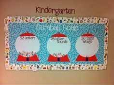 Bulletin board for letter and sight word goals... this can easily be adapted for use with different grade levels.