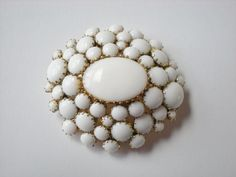 Vintage Milk Glass Brooch. Love this!