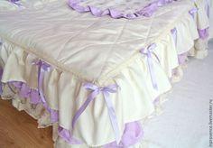 Купить Покрывало стеганое в детскую сиреневое Шебби Шик - сиреневый, покрывало на кровать, покрывало в детскую