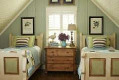 Cute attic room.  I would have iron beds in there.