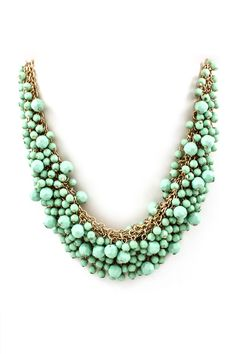 Minty Faceted Crystal Bead Cluster Bib Necklace with a Touch of Gold #necklace #mint #green #jewelry #ladies