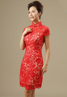 $62.49 - Elegant Short Lace Crochet Over Brocade Cheongsam Dress for Wedding Party