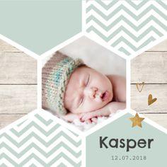 lovz   klassiek foto geboortekaartje voor een jongen  met hippie honingraat, koper kleurige elementjes en chevron patroon.