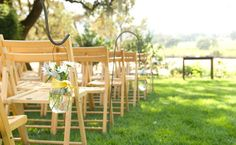 Hand arrangements on chairs. Perfect for an outdoor, lakeside or cottage wedding. Aisle Flowers, Wedding Ceremony Flowers, Hanging Flowers, Wedding Pins, Wedding Ideas, Hanging Lanterns, Wedding Stuff, Outdoor Wedding Decorations, Ceremony Decorations