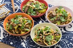 Sweet & Sour Stir-Fried Beef with Udon Noodles, Green Beans & Bok Choy