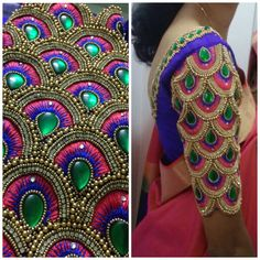 Most Beautiful Overall Design with Normal Stitching Needle- Same Like Aari/Maggam work on Blouse Wedding Saree Blouse Designs, Fancy Blouse Designs, Blouse Neck Designs, Sleeve Designs, Saree Wedding, Gold Wedding, Wedding Dresses, Hand Work Design, Hand Work Blouse Design