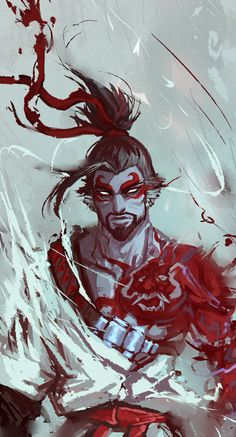 Overwatch Demon Hanzo by Overwatch Hanzo, Overwatch Fan Art, Overwatch Comic, Overwatch Tattoo, Overwatch Drawings, Overwatch Reaper, League Of Legends, King's Quest, Genji And Hanzo